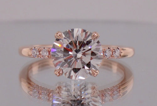 2.25 Ct 14K ROSE GOLD VS2-SI1 F Brilliant Cut Round GENUINE Diamond Engagement Ring