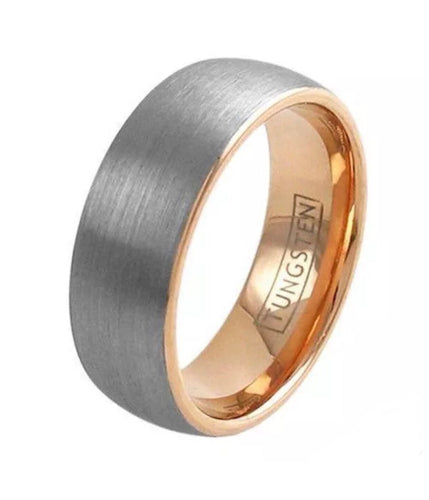Tungsten & Rose Gold Men's Wedding Band