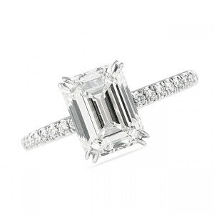 2.65 Ct. Emerald Cut Platinum Engagement Ring VS2-SI1 E-F
