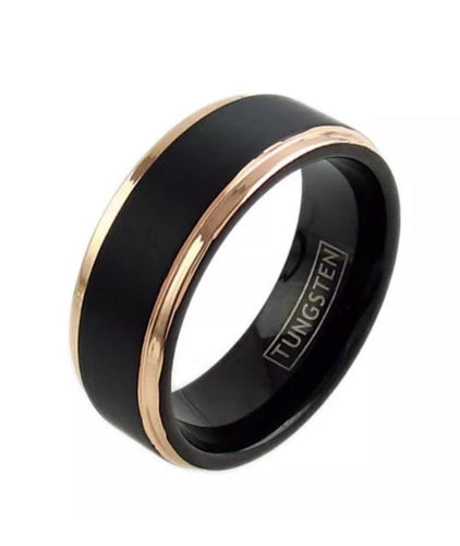 Black & Rose Gold Men's Wedding Band
