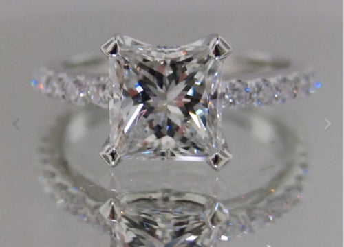 1.70 Ct-Princess Cut 100% GENUINE Diamond Solitaire-Engagement Ring-VS2-SI1 F
