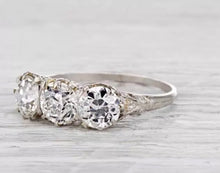 2.30 Ct Edwardian Style 3 Stone 100% GENUINE Diamond Engagement Ring VS2-SI1 F