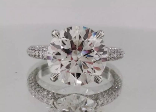 3.35 Ct Brilliant Cut Round GENUINE Diamond Solitaire Engagement Ring VS2-SI1 F 14KWG