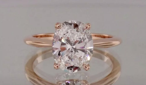 1.05 Ct VS2-SI1 F OVAL100% GENUINE Diamond Solitaire Engagement Ring14K ROSE GOLD
