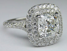 1.57Ct Split Shank Cushion Halo GENUINE Diamond Engagement Ring VS2-SI1 E 14K WG