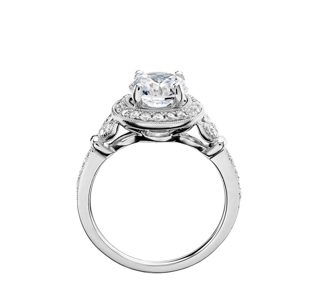 1.02 Ct Round Halo Antique Style Diamond Engagement Ring