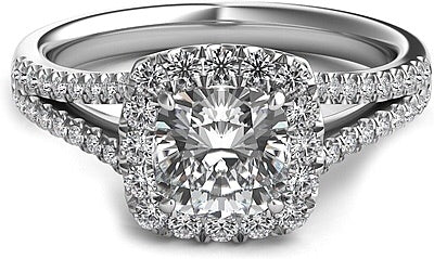2.65 Ct. Split Shank Cushion Halo Diamond Engagement Ring VS2 F