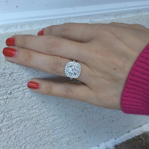 3.02 Ct. Cushion Halo-w-Round 100% GENUINE-Diamond Engagement Ring-VS2-SI1 F 14K White Gold