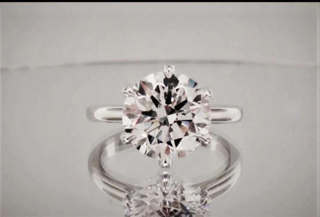 2.75 Ct Brilliant Cut Round GENUINE Diamond Solitaire Engagement Ring VS2-SI1 F 18KWG