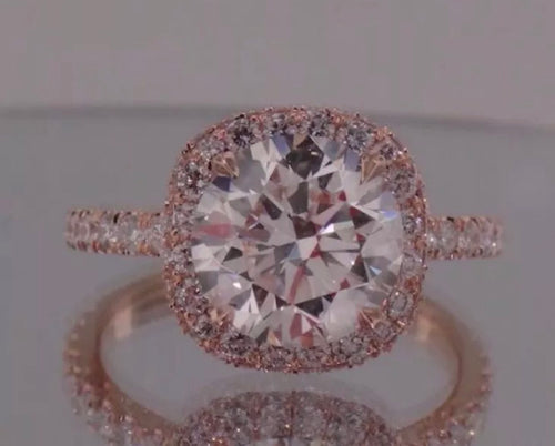 3.09 Ct 14K ROSE GOLD Cushion Halo 100%GENUINE Round Diamond Engagement Ring VS2-SI1 F