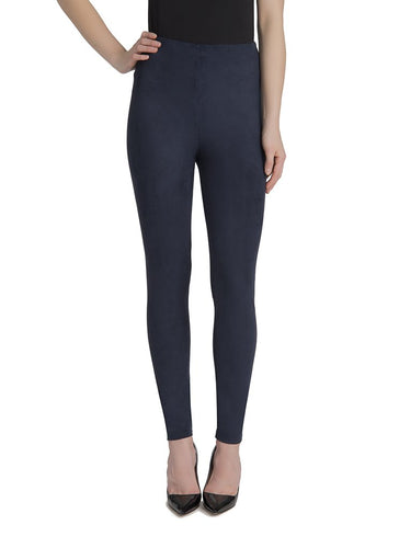 Hi Waist Suede Legging in Midnight