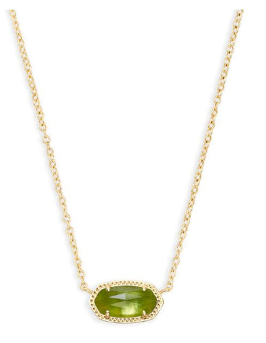 Elisa Gold Pendant Necklace in Peridot Illusion
