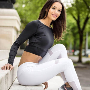 Active High-Waist White Leggings With Mesh