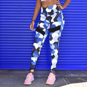 Active Blue Camo High-Waist Leggings