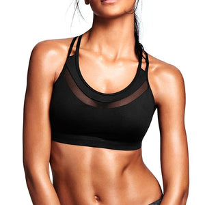 Active High-Impact Mesh Sports Bra String Back