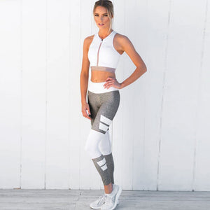 Active High-Waist Leggings With Stripes