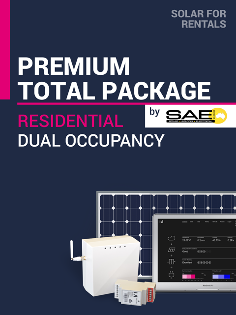 Solar for Rentals RESIDENTIAL DUAL OCCUPANCY TOTAL 5kW Solar PACKAGE (PREMIUM) with Faraday LTE (4G) IoT Service - Installed by SAE