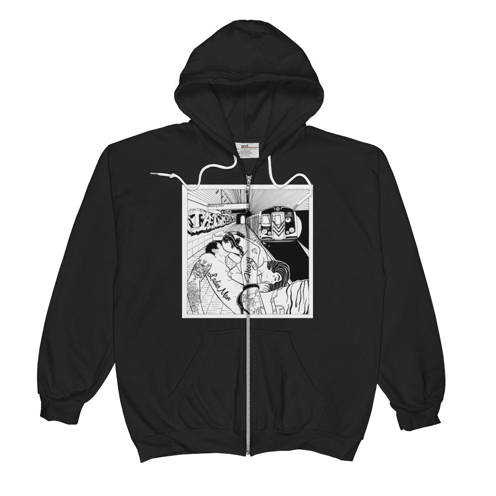 Waiting for the train Unisex  Zip Hoodie