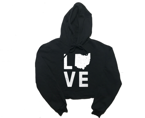 Love Ohio Ladies Hooded Crop Top