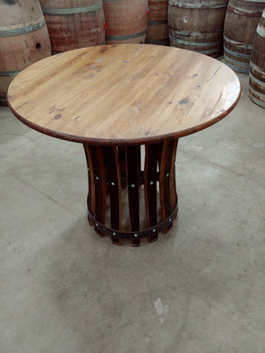 Knotty Pine Tabletop and Whiskey Stave Base