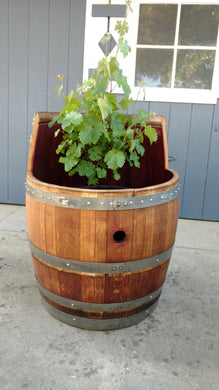 Wine Barrel Planter - Finished and Custom Cutout