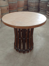 Wine Barrel 25 Gallon Stave Table Base with Pine Top sample