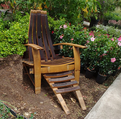 Rustic Wine Barrel Adirondack Chair and Footrest Set