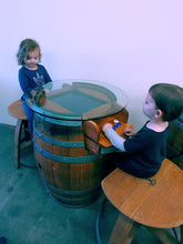 Arcade Wine Barrel with Bar Stools  in Play