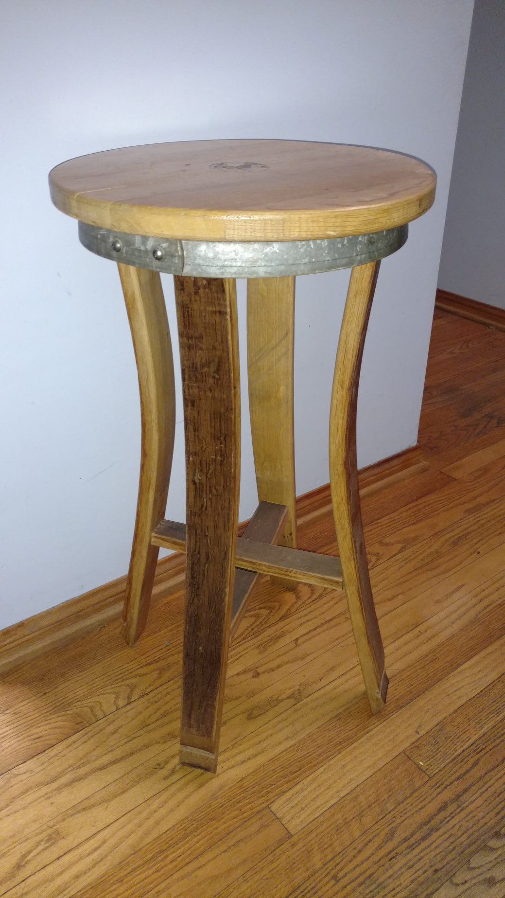 Wine Barrel Barstool inward legs