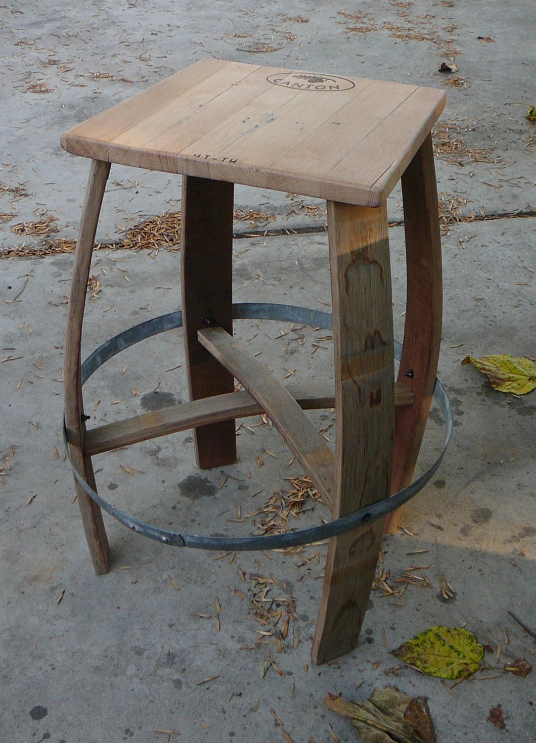 Wine Barrel Bar Stool - Rectangular Cut