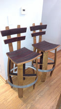 Pair Wine Barrel Bar Stools with back