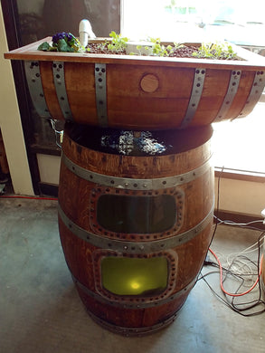 Basic Vertical Wine Barrel Aquaponics System with extra window