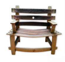 Wine Barrel Bench with Back and Arms