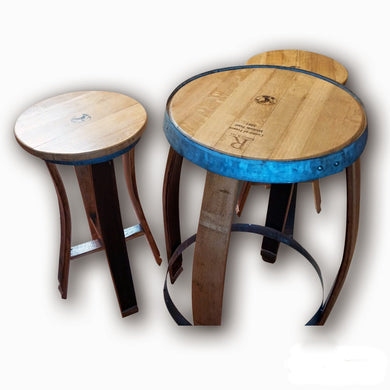 Wine Barrel Stave Bistro Table and 2 Bar Stools