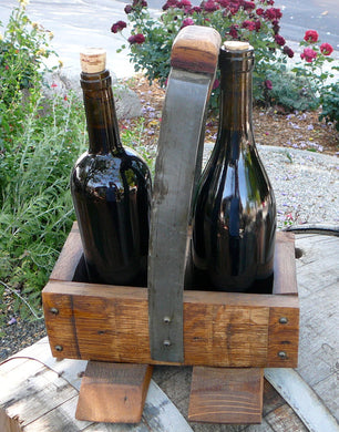 Rustic Wine Barrel Stave Wine/Beer 2-Bottle Carrier