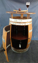 Wine Barrel Cabinet Pub Table showing shelf