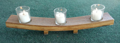Wine Barrel Valley Style Candleholder, 3 votive candles