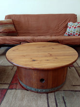 "36"" Knotty Pine Wine Barrel Center Cut Coffee Table"
