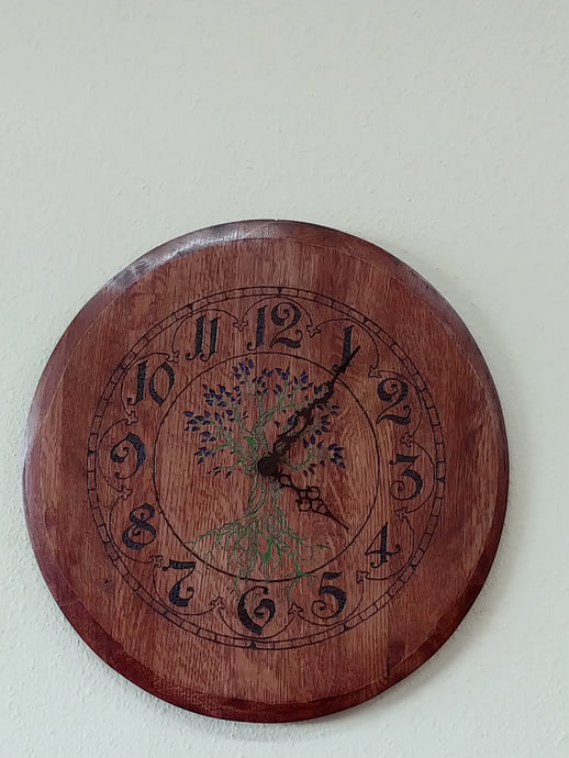 Wine Barrel Head  Wall Clock - Hand Engraved Colorized