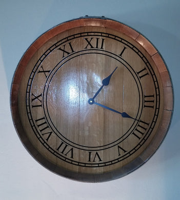 Wine Barrel End Roman Numeral Clock