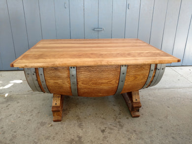 Wine Barrel Coffee Table with Birch Lid
