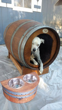 Wine Barrel Dog House Front Door with Medium Size Raised Dog Feeder