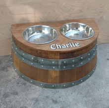 Rustic Wine Barrel Raised Double Bowl Holder (various sizes)