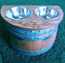 "Wine Barrel Raised 14"" Dog Dish"