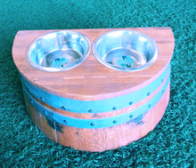 "Wine Barrel Raised 9"" Dog Dish"