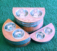 3 Raised Dog Bowl Holders showing small, medium and large sizes.