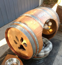 Wine Barrel Dog House with Porch Bed Paw Print