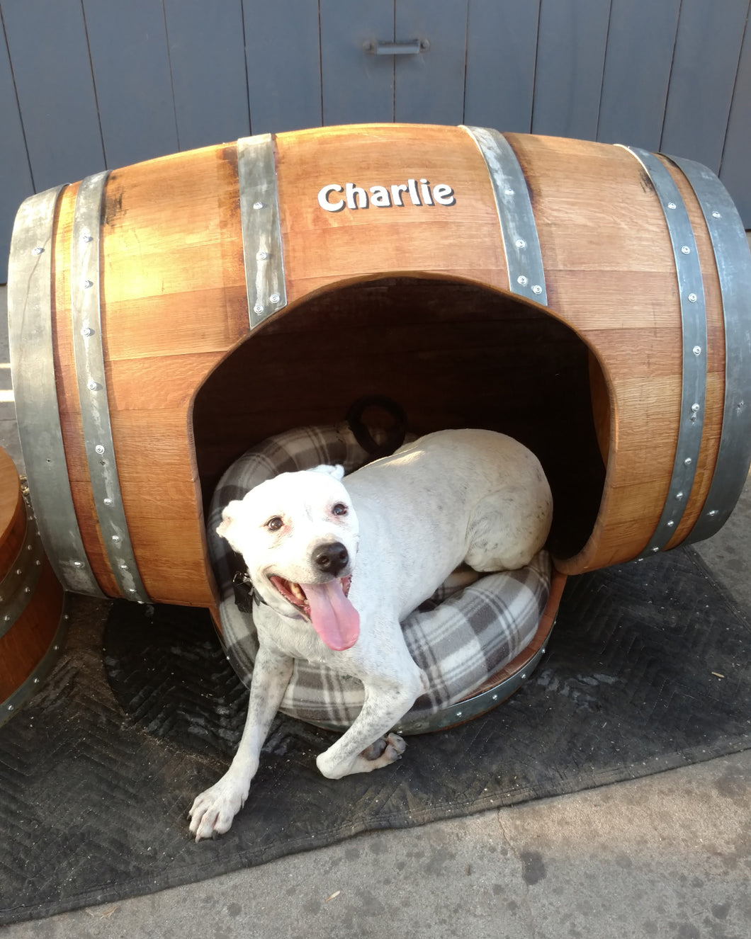 Wine Barrel Dog House with Porch Bed