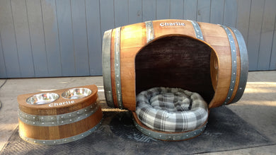 Wine Barrel Dog House with Porch Bed and Raised Food Dish