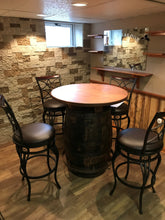 Whiskey  Barrel Pub Table with Barstools